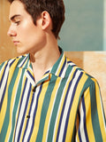 Notched Revere Collar Short Sleeve Striped Shirt