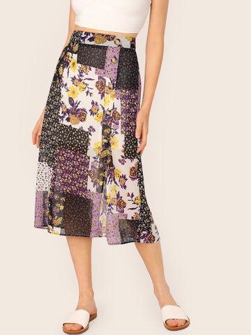 Button Front Patchwork Floral Print Midi High Waist Skirt