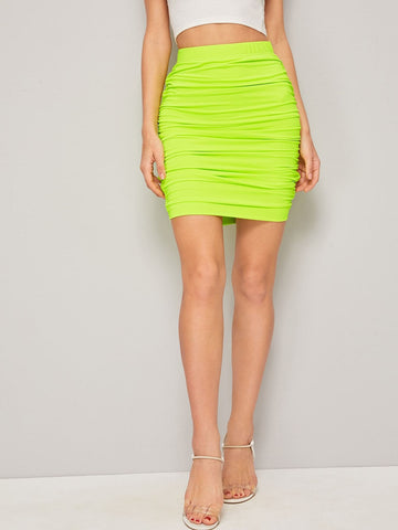 Neon Lime Green Mid Waist Ruched Bodycon Skirt