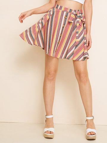 Flared Above Knee Striped Button Front Tie Waist Skater Skirt