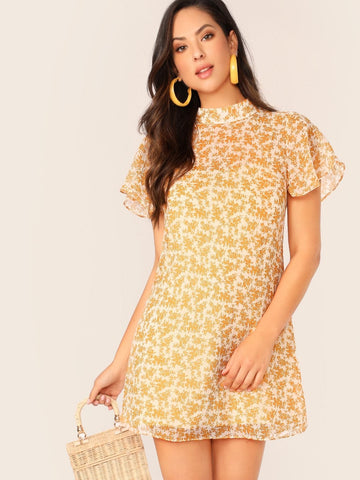 Yellow Backless Mock Neck Plants Print Short Dress