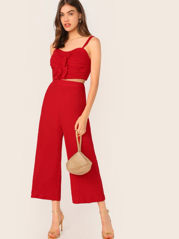 Red Spaghetti Strap Sleeveless Shirred Back Ruched Cami Crop Top & Palazzo Pants Set