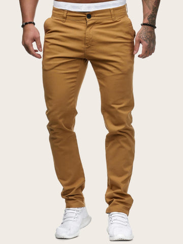 Khaki Tapered Solid Button Waist Pants
