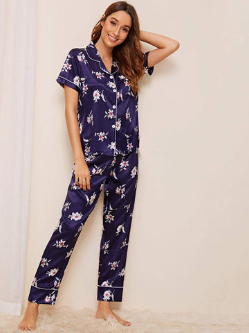Purple Short Sleeve Floral Print Satin Pajama Set Sleepwear