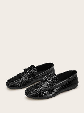 Black Round Toe Snaffle Detail Wide Fit Loafers