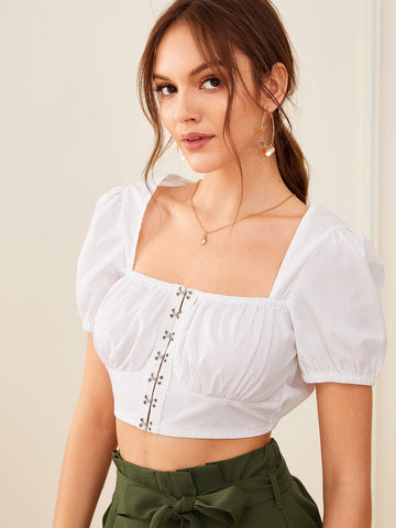 White Short Sleeve Square Neck Hook and Eye Crop Top