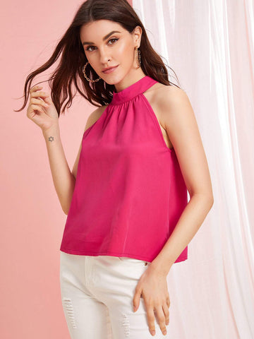 Hot Neon Pink Zip Back Halterneck Top