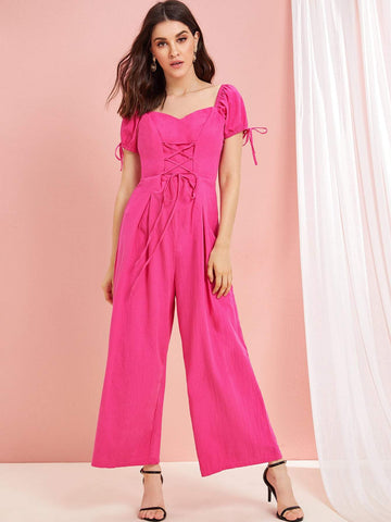 Hot Neon Pink Lace Up Short Sleeve Sweetheart Neck Wide Leg Jumpsuit