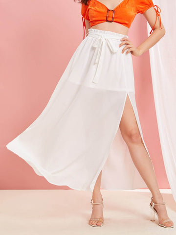 White Mid Waist Solid Paperbag Waist Split Thigh Skirt