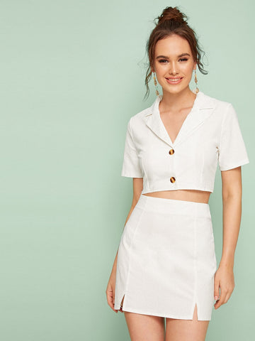White Short Sleeve Button Front Notched Top & Split Side Skirt