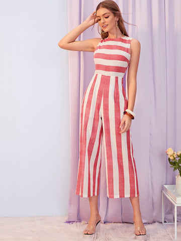 Red Sleeveless Striped High Waist Tank Palazzo Jumpsuit