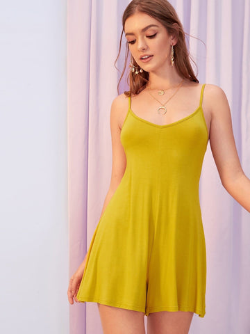 Mustard Backless Sleeveless Solid Flare Leg Cami Romper Jumpsuit