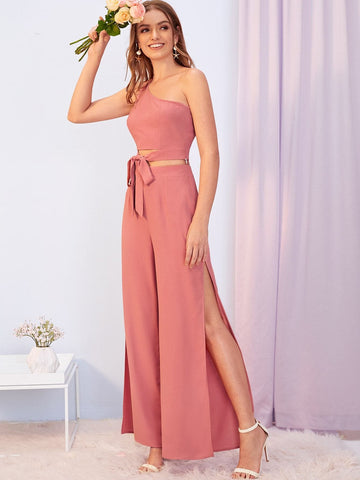 Pink One Shoulder Sleeveless Knot Front Tank Top & Split Thigh Pants Set