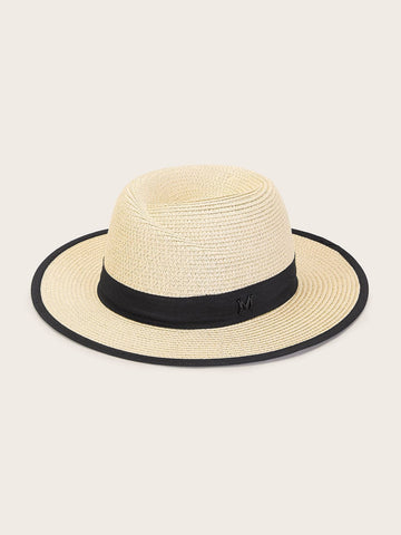 Beige Band Decor Floppy Hat