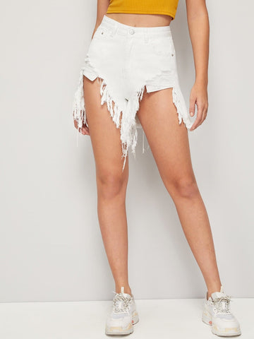 White Ripped Asymmetrical Raw Hem Denim Shorts