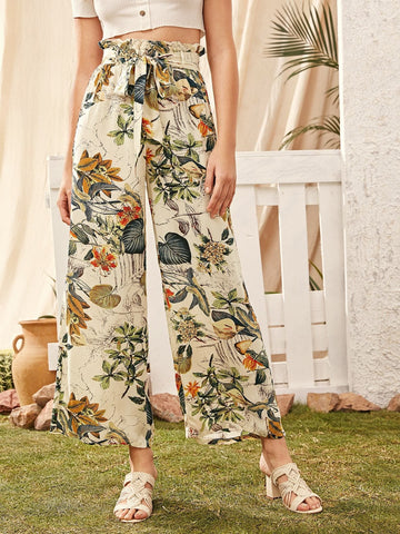 Tropical Botanical Print Paperbag Waist Wide Leg Pants