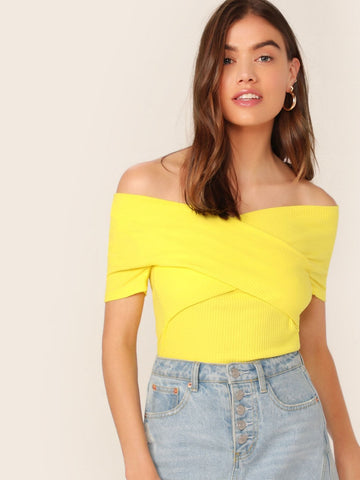 Bright Yellow Slim Fit Rib-knit Crisscross Wrap Top