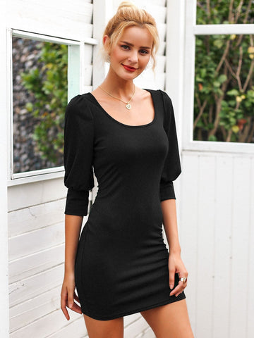 Black Scoop Neck Three Quarter Bishop Sleeve Bodycon Dress