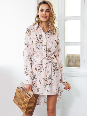 Simplee Floral Print High Low Hem Short Shirt Dress