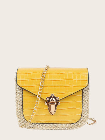 Yellow Croc Embossed Push Lock Woven Bag