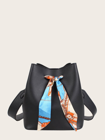 Black Twilly Scarf Decor Crossbody Bag