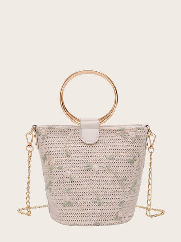 Beige Floral Embroidered Woven Bag With Ring Handle