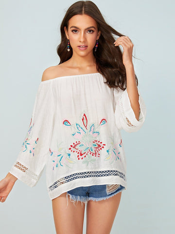 White Three Quarter Sleeve Floral Embroidery Off Shoulder Blouse