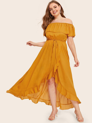 Short Sleeve Plus Ruffle Trim Asymmetrical Hem Belted Off Shoulder Dress