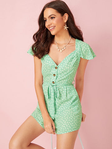 Green Cap Sleeve Confetti Print Tie Back Belted Playsuit Jumpsuit