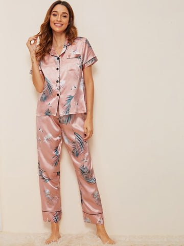 Pink Short Sleeve Crane & Tropical Print Satin Pajama Sleepwear Set