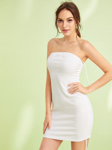White Sleeveless Strapless Solid Drawstring Detail Bodycon Tube Dress