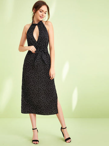 Black Sleeveless High Waist Polka-dot Split Thigh Backless Halter Dress
