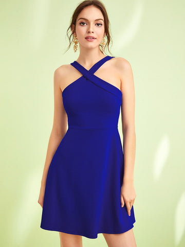Bright Blue Sleeveless Crisscross Neck Fit & Flare Dress