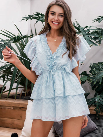 Pastel Blue Butterfly Sleeve V-Neck Drawstring Waist Layered Ruffle Romper Jumpsuit