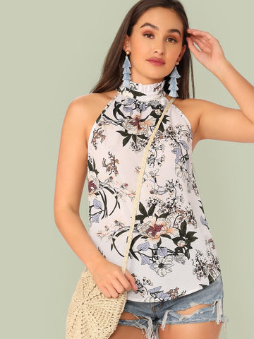 Sleeveless Regular Fit Floral Print Curved Hem Frill Halter Top