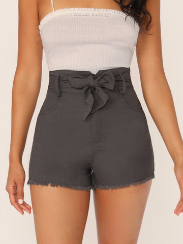 Grey Raw Hem Waist Tie Side Pockets Linen Shorts