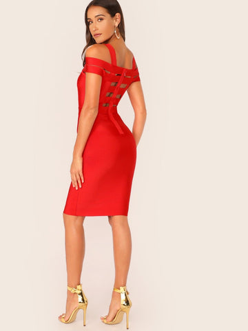 Red Cut Out Strappy Bandage Bodycon Short Dress