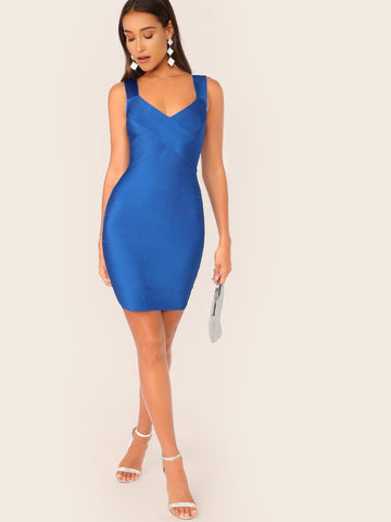 Blue Criss Cross V-Neck Sleeveless Bodycon Bandage Mini Dress