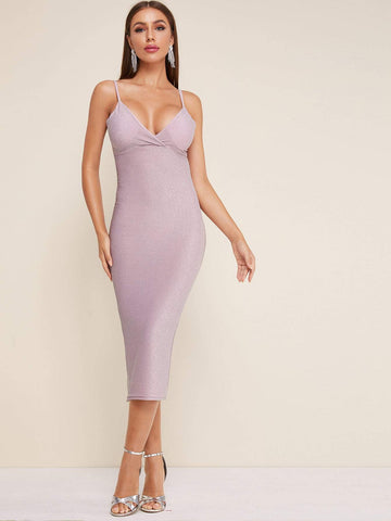 Purple Sleeveless Spaghetti Strap Hight Waist Glitter Gathered Bust Cami Dress