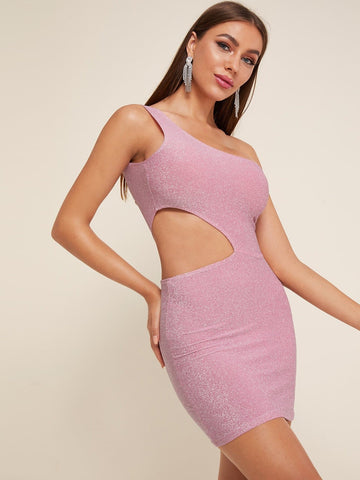 Pink Sleeveless One Shoulder Cut-out Glitter Mini Dress