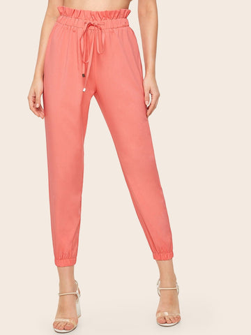 Pink High Waist Frill Waist Drawstring Pants