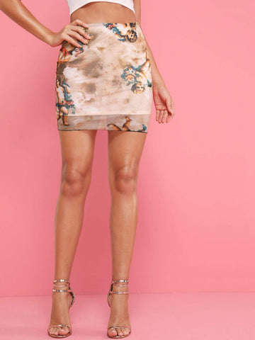 High Waist Figure Print Pencil Mini Skirt