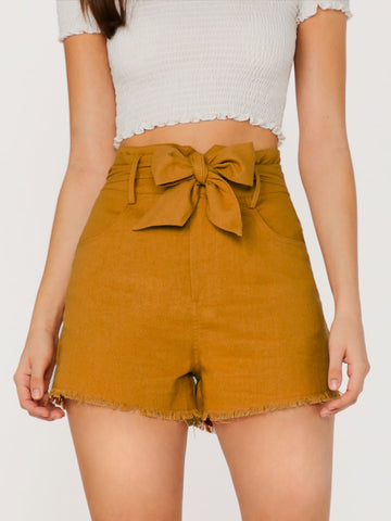 Ginger Straight Leg Raw Hem Waist Tie Side Pockets Linen Shorts