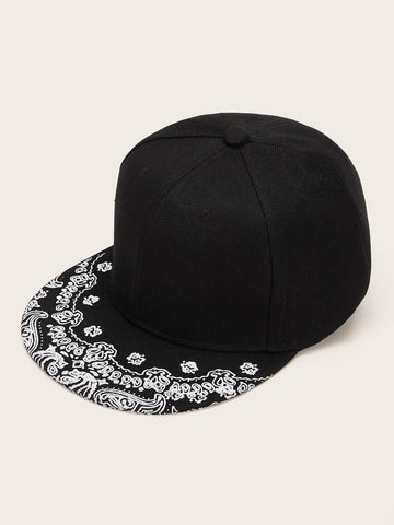 Black and White Cashew Pattern Snap Cap