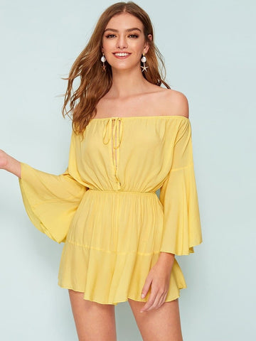 Pastel Yellow High Waist Off Shoulder Flounce Sleeve Knotted Front Romper Jumpsuit