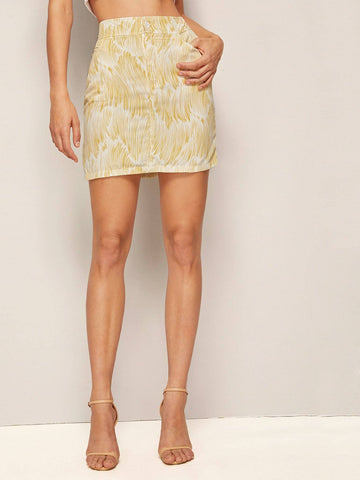 Pastel Yellow Above Knee Brush Print Bodycon Skirt