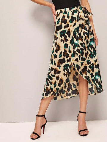 Belted Leopard Print Asymmetrical Hem Wrap Knotted Skirt