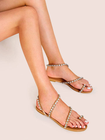 Brown Rhinestone Decor Toe Ring Flat Sandals