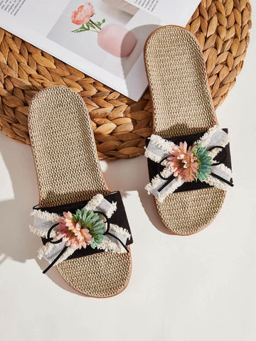 Floral Decor Open Toe Linen Sliders Slippers
