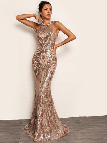 Champagne Gold Sleeveless Tie Back Chain Detail Fishtail Hem Slim Fit Sequin Dress